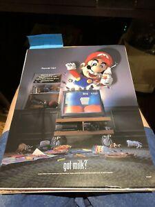 2000 Video Game SUPER MARIO POWER UP! - GOT MILK? - NINTENDO Small Promo Poster