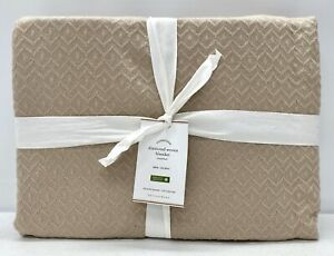NEW Pottery Barn Diamond Woven Organic Cotton TWIN Blanket~Simply Taupe