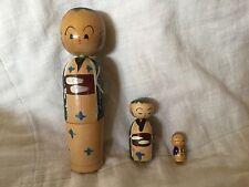 Vintage Wooden Japanese Nodder Bobble Head Nesting Dolls, H2