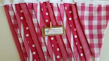 Fabric bunting flags bright/hot pink and white- DOUBLE SIDED 2mt