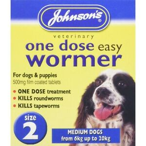 Johnsons Wormer Dog Worm Worming Tablets Size 2 Medium Dogs Tapeworm 6kg - 20kg