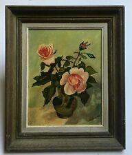 Tableau ancien signé, Huile sur toile, Bouquet de roses, Encadré, XXe