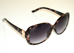 LUNETTES DE SOLEIL femme Brun Bronze noir tacheté verres ovales Sonnenbrill BB52