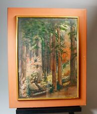 "Vtg Redwood Tree Forest Path Oil Painting Framed Under Glass 20"" x 16"" Signed"