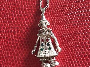 Vintage Sterling Silver Clown Necklace