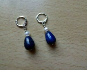 Dainty LAPIS LAZULI / FRESHWATER PEARL drop EAR RINGS St Silver Gift wrapped