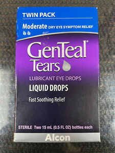 2x 15ml Genteal Tears Twinpack Lubricant Liquid Eye Drops Moderate dry relief