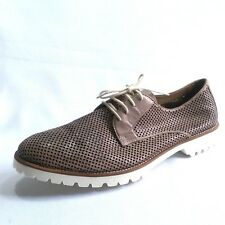 Bernanrdo Iris Brown Taupe Leather Perforated Lace Up Oxfords Shoes Size 41