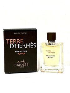 TERRE D'HERMES Eau Intense VETIVER 0.17oz-5ml EDP Mini SAMPLE TRAVEL SIZE (C46
