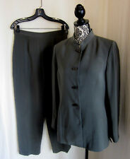 KASPER ASL Women's Career Taupe Green Mao Collar Fully Lined Pant Suit Size 10