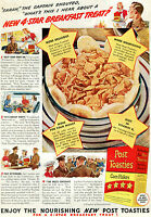 1941 Post Toasties Corn Flakes Cereal Ad Mess Sergeant & Captain at Commissary