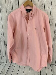 Ralph Lauren Yarmouth Pink Button Front Shirt Size 16 1/2 35 100% Cotton R3