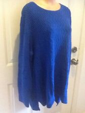 CJ Banks, NWT, Plus Size 3X (24/26W), Blue, Round Neckline, Long Sleeve Sweater