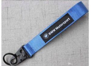 BMW MOTORSPORT BLUE Keychain Wrist Lanyard with Metal Keyring - FREE SHIPPING