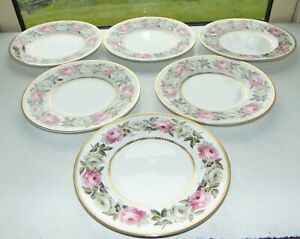 Royal Worcester Royal Garden 6 x Dessert Plates 20.5cm Pink and White Roses