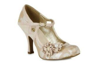 Ruby Shoo NEW Yasmin Rose Gold Flower High Heel Shoes