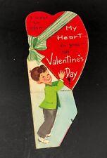 Vtg 1950's-1960's Valentines Card Heart Ribbon Ephemera Boy Suit Robert Olson