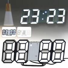 LED Wall Clock Modern 3D Digital DIY Alarm Watch Kitchen Temperature Display USB