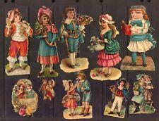 10 VICTORIAN original Scrap and Die Cuts Children Flowers embossed German ca1890