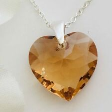925 Silver Heart Necklace Pendant Jewellery Topaz Made With Swarovski® Crystals