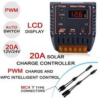 LCD 20A 12V/24V Solar Charge Controller Regulator + MC4 M/F Y Cable Connector JС