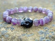 Men Amethyst Skull Bracelet with Swarovski Black Crystal 7-8inch Elasticated