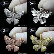 MEN WOMEN 925 STERLING SILVER ICY SILVER/ROSE GOLD 3D BUTTERFLY PENDANT*SP284