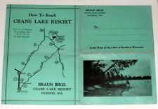 Vintage Rare 1940's CRANE LAKE RESORT Brochure-PICKEREL, WISCONSIN-Braun Bros.