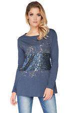 Damen Pailletten Top Boot Ausschnitt Tunika Pullover T-Shirt Bluse-größe