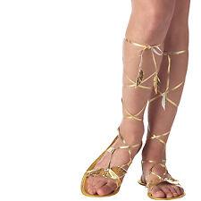 New Goddess Gold Sandals Egyptian Roman Toga Ladies Fancy Dress Shoe Accessory