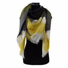 New Plaids &Check Blanket Oversized Tartan Big Long YELLOW Scarf Shawl Pashmina