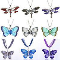 Fashion Retro Silver Crystal Rhinestone Dragonfly Charms Pendant Necklace Chain