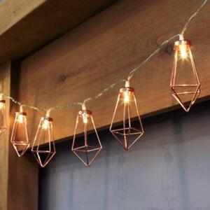 Retro Iron Metal Diamond LED Fairy String Lights Battery Party Wall Home Decor