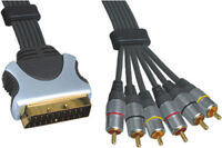 0.75m Scart Plug 21 Pin To 6x RCA Phono Male Plug Lead Gold Plated Connectors