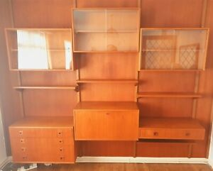 VINTAGE DANISH TEAK CABINET WALL MOUNTED SHELVING SYSTEM    DELIVERY AVAILABLE