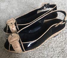 Vaneli Size 4 Black And Cork Peep toe Sandal So Cute