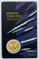 2019 South Korean KOMSCO Tiger 1/10 oz 999 Gold Sealed Blue Assay Card Serial 65