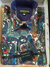 NWT INSERCH Mens Long Sleeve New Multi Color Paisley Shirt Linen Blend Size L