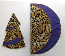 "TIGER PRINT & PURPLE 19"" ROUND COTTON REVERSIBLE NAPKINS - HANDMADE - SET OF 4"