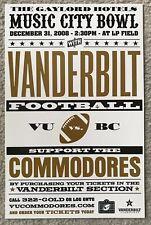 "Vanderbilt Commodores 2008 Music City Bowl Poster New/11""x17"""
