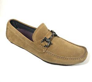NEW SALVATORE FERRAGAMO Parigi Camel Brown Suede Mens Loafers Shoes 10 D