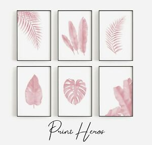 Pink Leaves Botanical Print Home Art Pictures Poster Living Room Fern