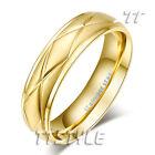TT 14K Gold Brushed Stainless Steel Wedding Band Ring (R329)