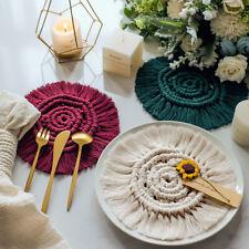Handmade Cotton Coasters Round Woven Braided Table Hot Pads Mats Macrame Tassel