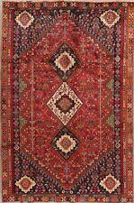 Vintage TRIBAL Kashkoli Geometric Area Rug Hand-Knotted Oriental RED Carpet 6x9