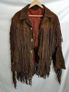 Vintage Brown Suede Leather Fringe Men's Jacket