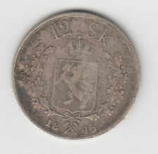 1845 Norway 12 Skilling Silver Coin