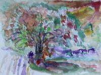 Landschaft mit Baum Aquarell Expressiv Anonym