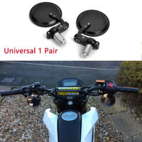 "ROUND BLACK UNIVERSAL MOTORCYCLE BIKE 7/8"" HANDLE BAR END REARVIEW SIDE MIRRORS"