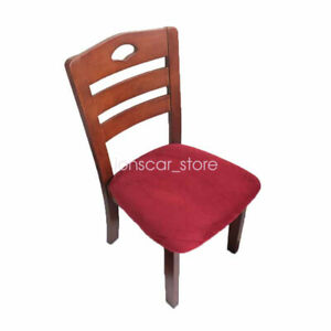 4pcs Velvet Dining Chair Covers Stretch Protector Cushion Slipcovers with Ties
